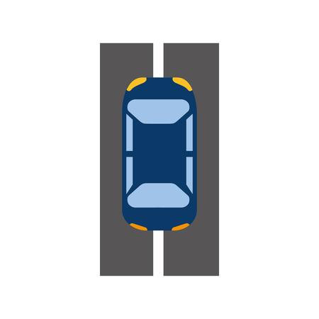 cartoon car on the road traffic navigation concept vector illustration