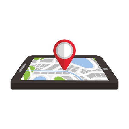 navigation gps device and city map with pins technology and traveling concept vector illustration