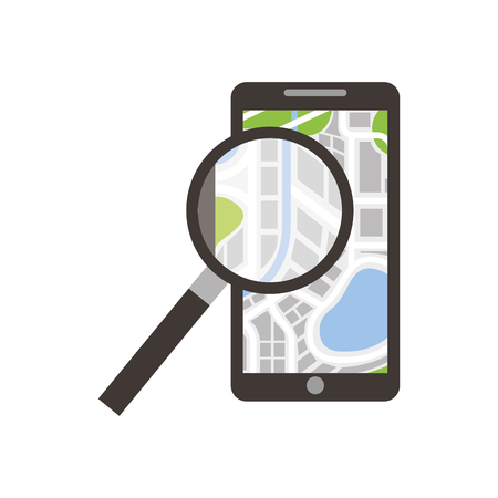 mobile phone navigator map magnifier app vector illustration