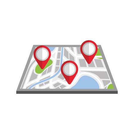 kaart navigatie gps met aanwijzer geïsoleerd op witte achtergrond vectorillustratie