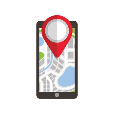 navigation gps on smartphone with map pointer and city vector illustration Illustration