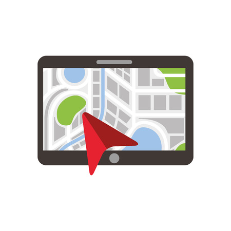 navigation gps device and city map with pins technology and traveling concept vector illustration Фото со стока - 87257727