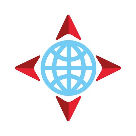 Globus und vier Pfeil Navigation Ziel Welt-Vektor-illustration Standard-Bild - 87327069