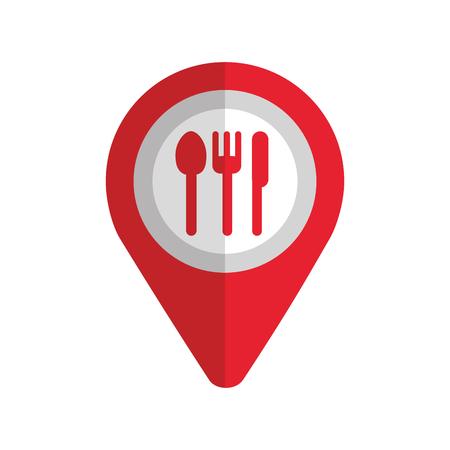 Puntero del mapa pin con café o restaurante icono de signo ilustración vectorial Foto de archivo - 87257734