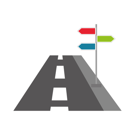 navigation concept road with sign traffic vector illustration