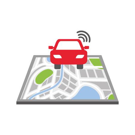 navigation gps pointer map car transportation signal street vector illustration