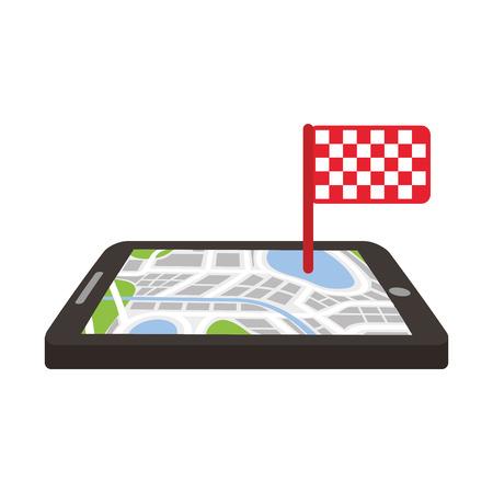 ナビゲーション gps デバイスと市内地図と完了フラグの技術と概念のベクトル図を旅行  イラスト・ベクター素材