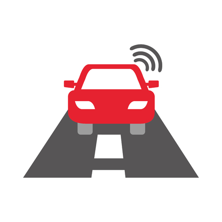 navigation gps signal street car transportation vector illustration