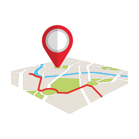 map navigation gps with pointer isolated on white background vector illustration Stock fotó - 87394482