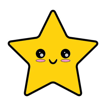 pixelated star kawaii icon vector illustration design Illustration