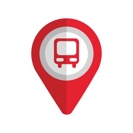 位置ベクトル図のシンボル バス駅とマップ ポインター