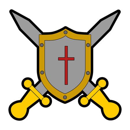pixelated schild met ontwerp van de zwaard het vectorillustratie Stock Illustratie