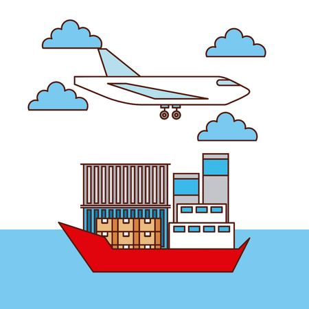 logistic transport airplane and ship boxes and container vector illustration