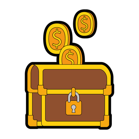 pixelated treasure chest with coins vector illustration design Illustration