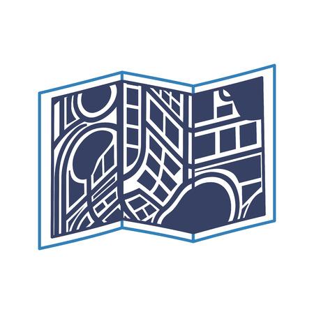 ナビゲーション位置ベクトル図の折り地図  イラスト・ベクター素材