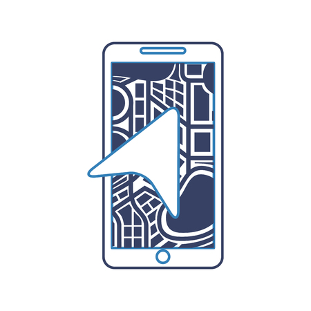 mobile phone with arrow navigation map city vector illustration