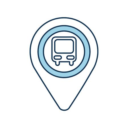 Puntero del mapa con la estación de autobuses de símbolo para la ilustración de vector de ubicación Foto de archivo - 87064956