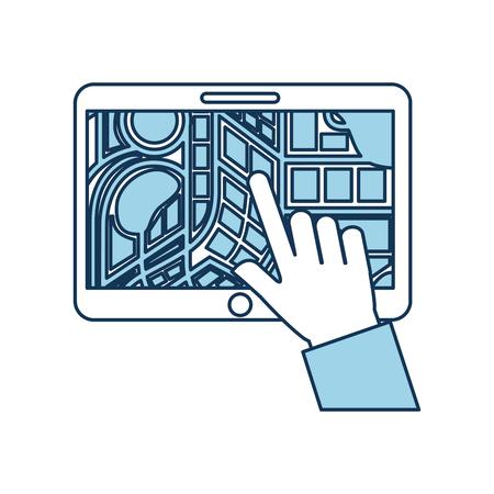 Mão tocando tablet pc com ilustração em vetor aplicativo móvel mapa ponteiro ponteiro GPS Foto de archivo - 87064971