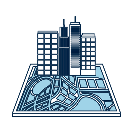 navigator: buildings town on the map navigator destination icon vector illustration