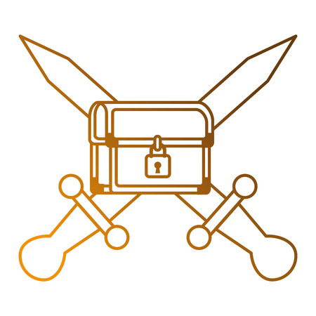 pixelated treasure chest with swords vector illustration design
