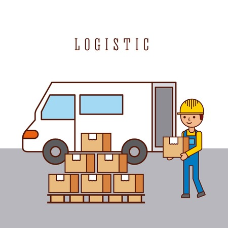 logistic worker loading truck with goods delivery vector illustration