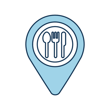 Puntero del mapa pin con café o restaurante icono de signo ilustración vectorial Foto de archivo - 87064984
