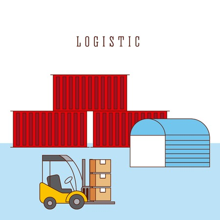 logistic warehouse containers and forklift boxes vector illustration Illustration