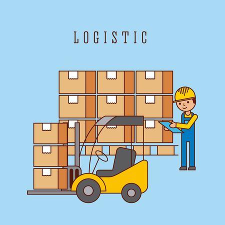logistic forklift loading cardboard boxes and worker vector illustration