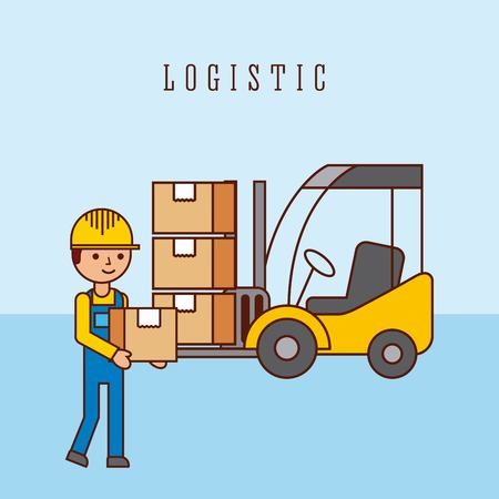 worker forklift with cardboard boxes logistic concept vector illustration