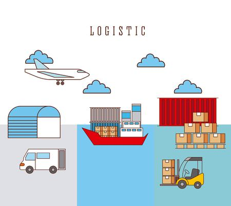 logistic ship truck forklift airplane boxes and container warehouse vector illustration