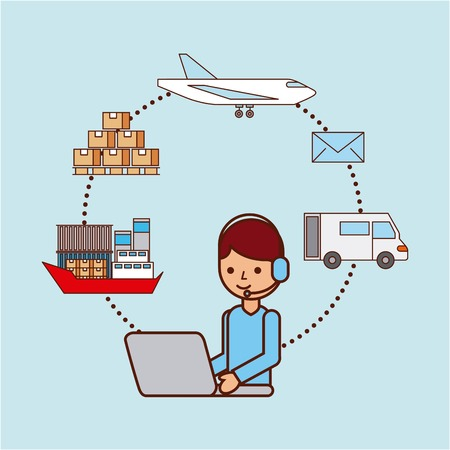 worker with laptop logistic delivery shipping boat plane truck box email vector illustration