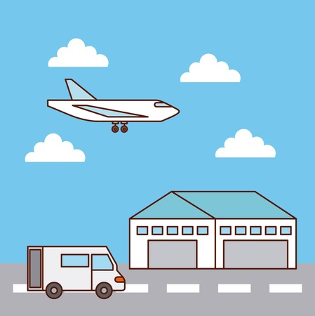 warehouse delivery airplane and truck transport vector illustration Illustration