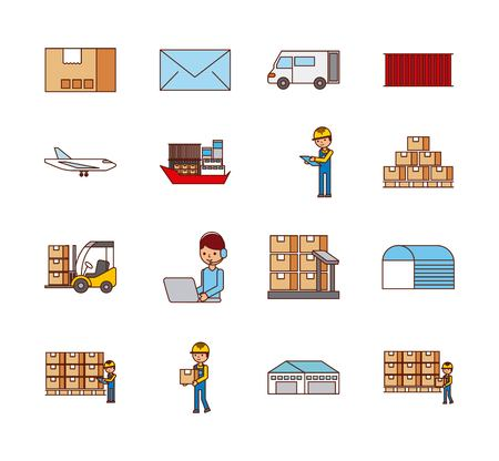 set of icons logistic delivery mail transport boxes vector illustration