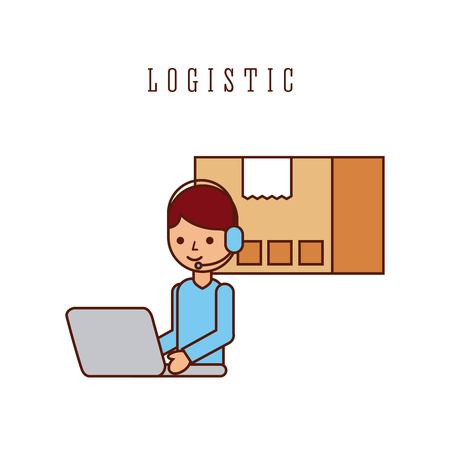 logistic worker cartoon working laptop and cardboard box vector illustration