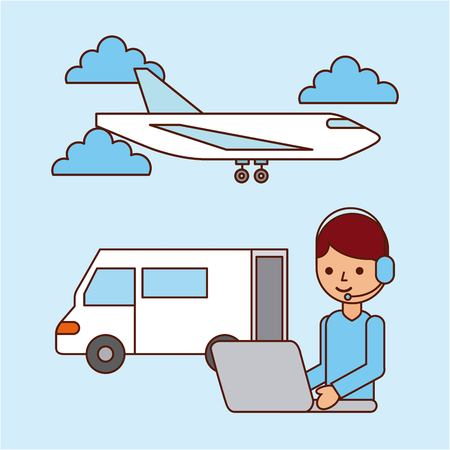 worker laptop airplane and truck delivery logistic vector illustration