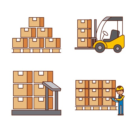 logistic concept worker boxes scale stools warehouse vector illustration  イラスト・ベクター素材