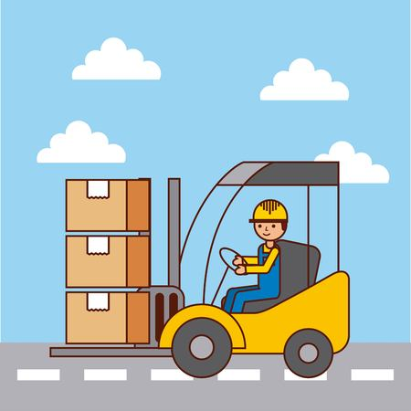logistic worker driver forklift loading cardboard boxes by street vector illustration