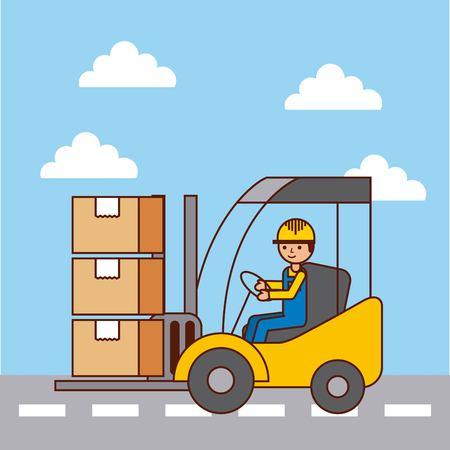 Logistieke arbeider bestuurder vorkheftruck laden kartonnen dozen door straat vector illustratie
