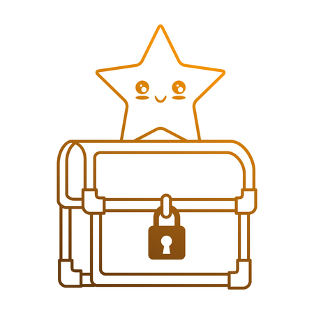 lock symbol: pixelated treasure chest with star vector illustration design