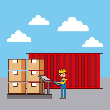 logistic worker and container cradboard boxes on scale weight vector illustration Illustration