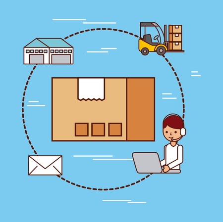 cardboard box delivery logistic mail warehouse and forklift vector illustration