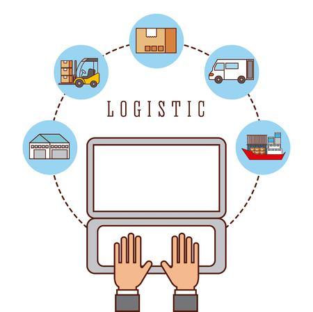 hand worker working laptop logistic concept vector illustration