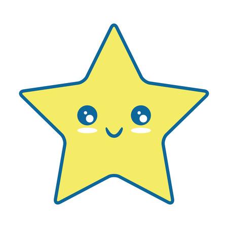 pixelated star kawaii icon vector illustration design Illustration