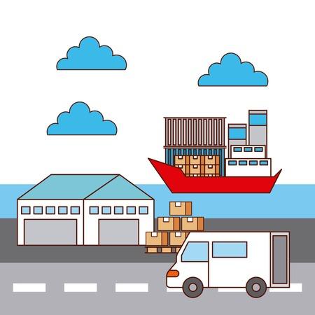 warehouse van car and ship logistic transport vector illustration Ilustracja