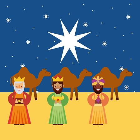 melchor: the three kings of orient vector illustration