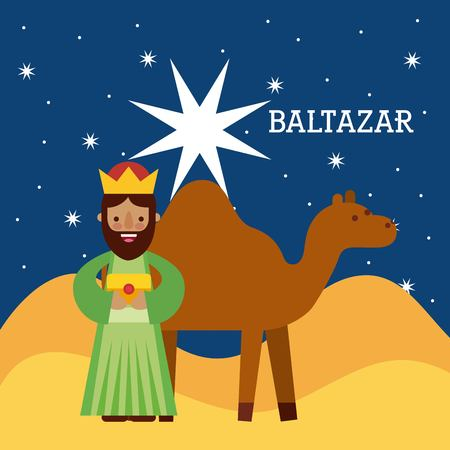 baltazar wise king nad camel wise king manger character bringing gift to jesus vector illustraton Illustration