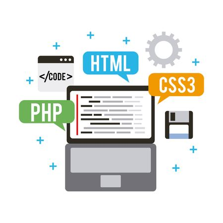 programming and coding concept website development vector illustration