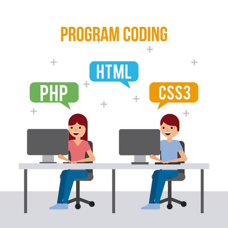 girl laptop: program coding girl and boy web development languages vector illustration