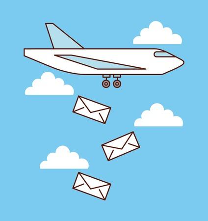 비행기 메일 봉투 떨어지는 하늘 이미지 벡터 일러스트 레이션