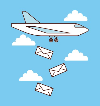 airplane mail envelope falling sky image vector illustration